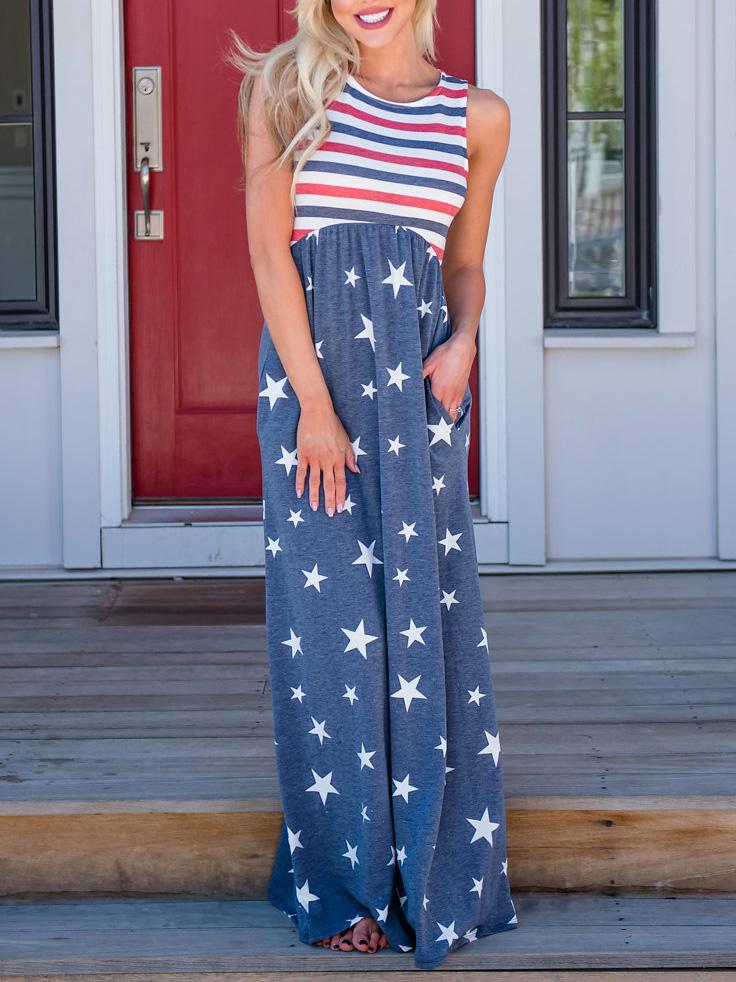 Star Stripe Flag Print Sleeveless langes Kleid