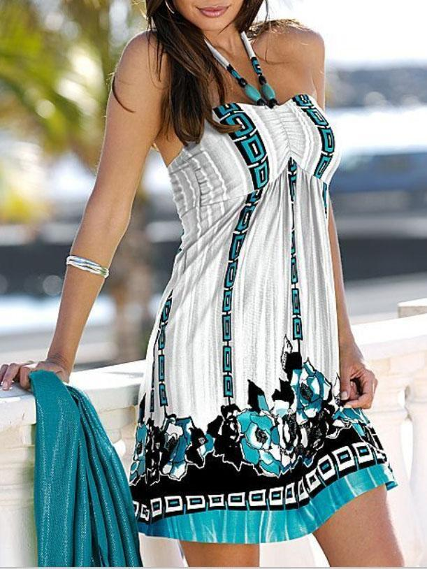 Short Neck Halter Maxi Dress