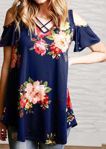 Bare Shoulder Floral Print T-shirt