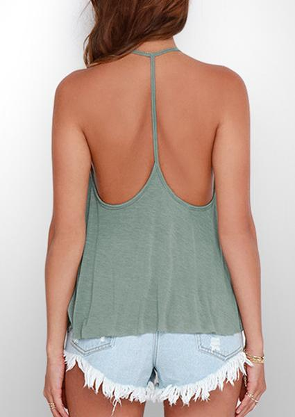 Y-neck Solid Color Backless Camisole