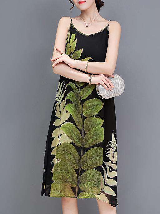 Big Leaf naka-print na U-leeg strap Natioanl Estilo Dress