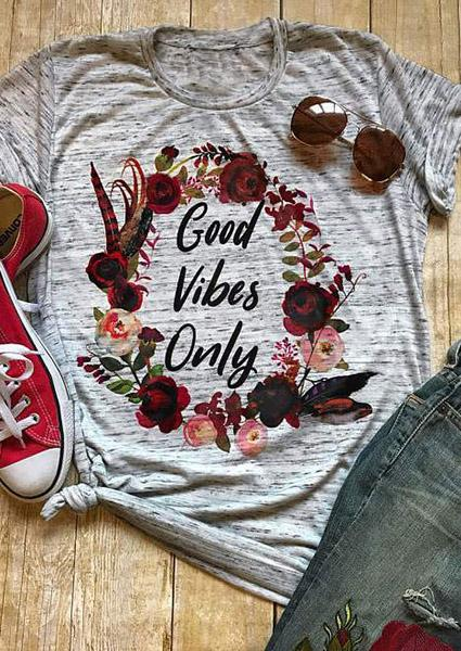 Good Vibes Only Letter Print T-shirt