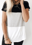 Stripe Colour Matching Crew Neck Short Sleeve T-shirt