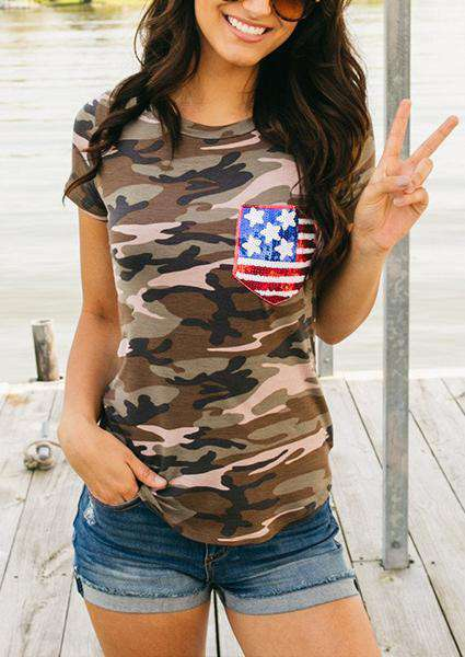 Camouflage Spangle Flag Printed O-neck T-shirt