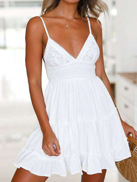 Deep V-neck Strap Lace Mini Dress