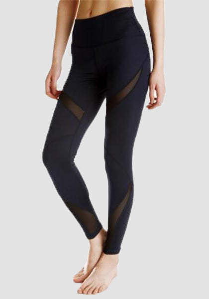 High Waist Stretchy Mesh Yoga Pants-Mesh Leggings-2UBest.com-Black-XL-2UBest.com