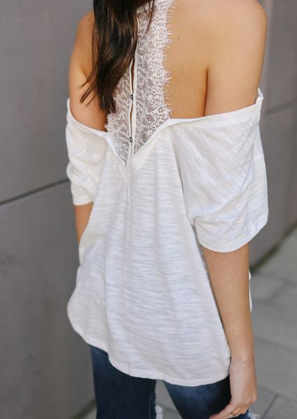 White Lace Strap Off-shoulder Blouse