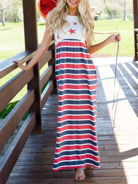 O-neck Sleeveless Print Long Dress
