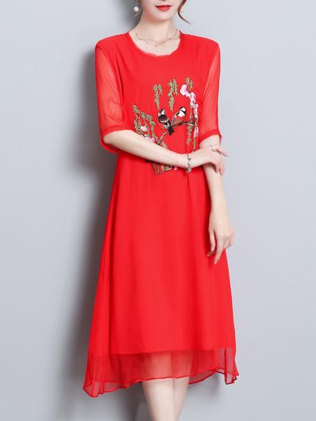 Solid Red Bird Ambroidered National Style Midi Dress