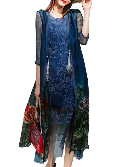 Flower Printed Blue Mulberry Silk National Style Long Dress Set