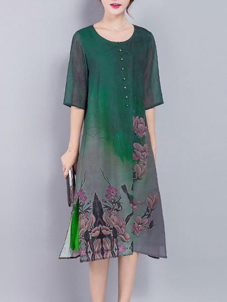 Lotus Printed Grün O-Ausschnitt National Style Dress