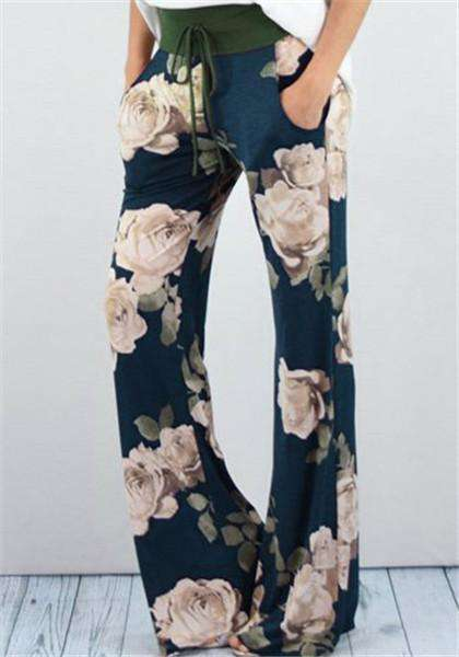 Floral Print Drawstring Wide Leg Lounge Pants