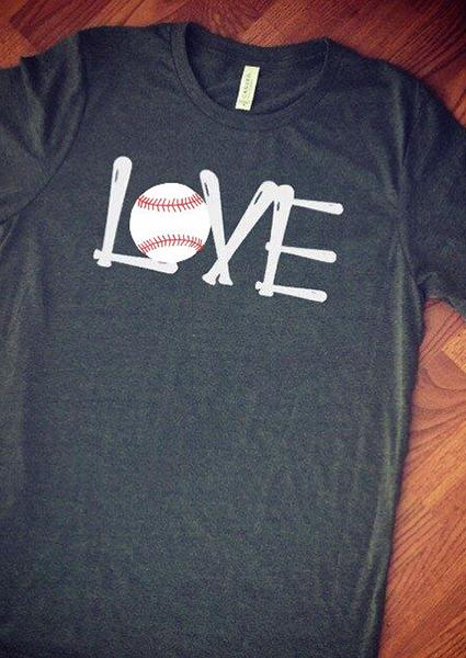 Black Letter Printed Love Baseball T-shirt