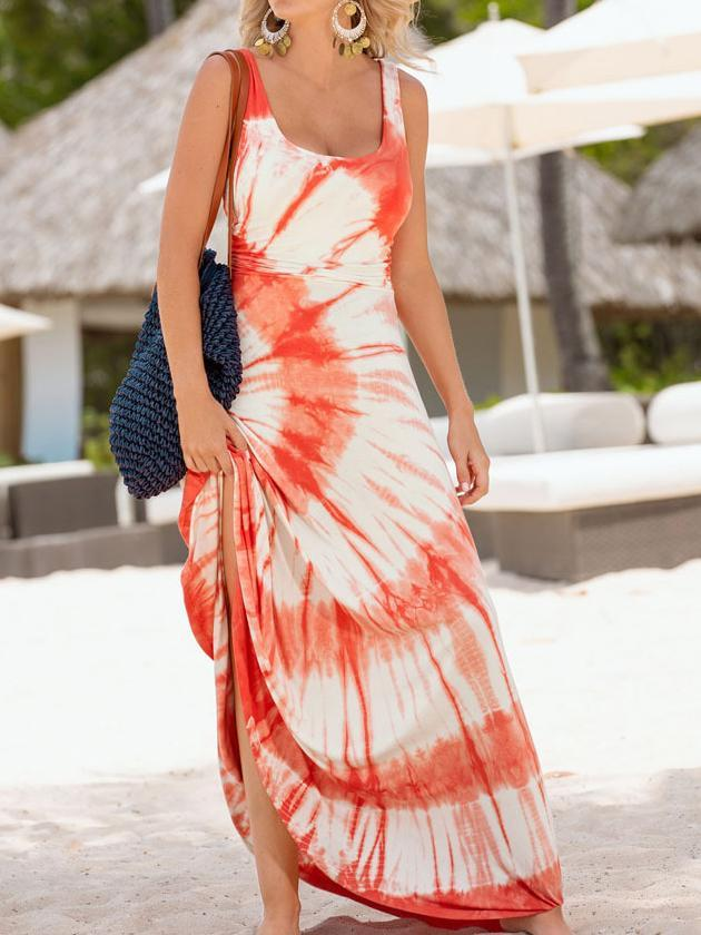 Sleeveless O-neck Long Spaghetti Print Floral Dress