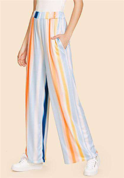 Elastic Loose Multicolor Casual Mid Waist Pants