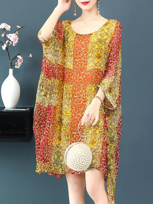 Flower Printed One-piece Raglan Sleeve National Style Dress