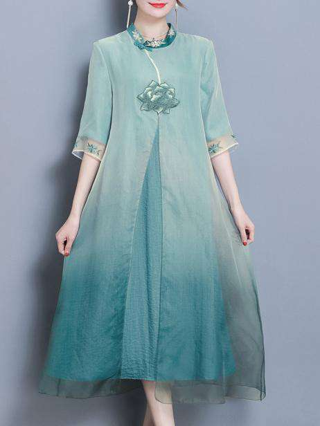 Classical Gradient Blue Silk Organza Standing Collar Dress