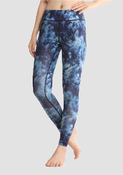 High Waist Printed Yoga Pants With Pocket On Waistband-Long Leggings-2UBest.com-Blue-XS-2UBest.com