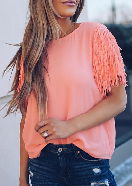 Solid Color Tasseled sleeves O-neck Blouse