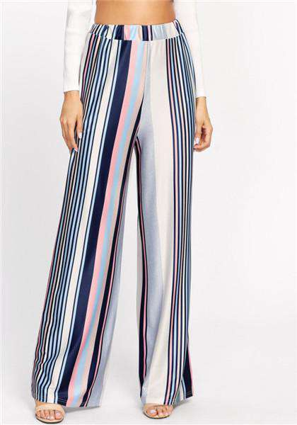 Pantalon ample à rayures lâches multicolores