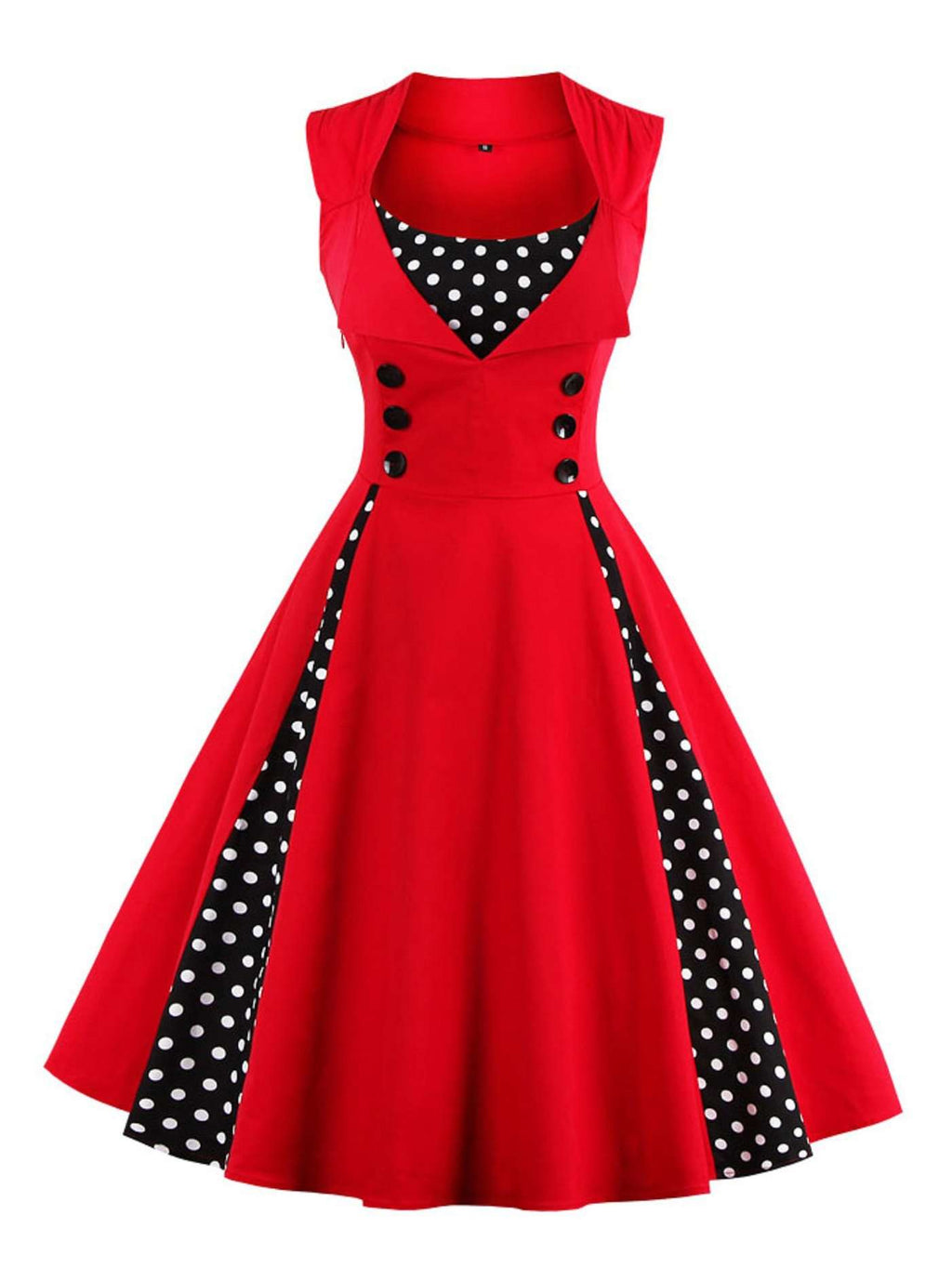 Big Swing Dress Stampa Retro Point Wave