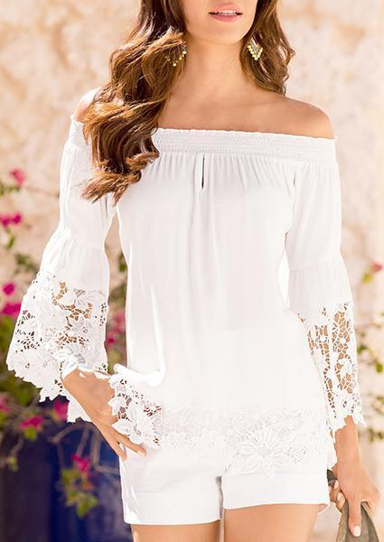 Solid Color Lace Off-shoulder Blouse
