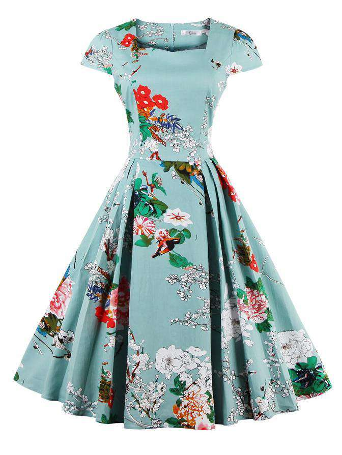 Floral Printed Vintage Slim Dress