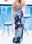 Floral Stripe Printed Maxi Dress