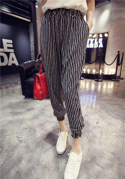 Bohemia Style Vertical Stripes Casual Beach Pant