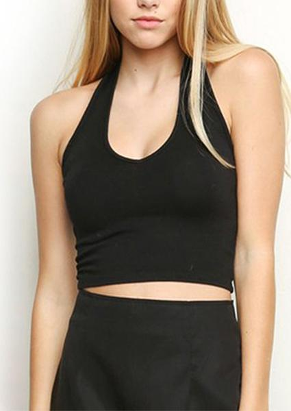 Solid Color Sleeveless Crop Tops