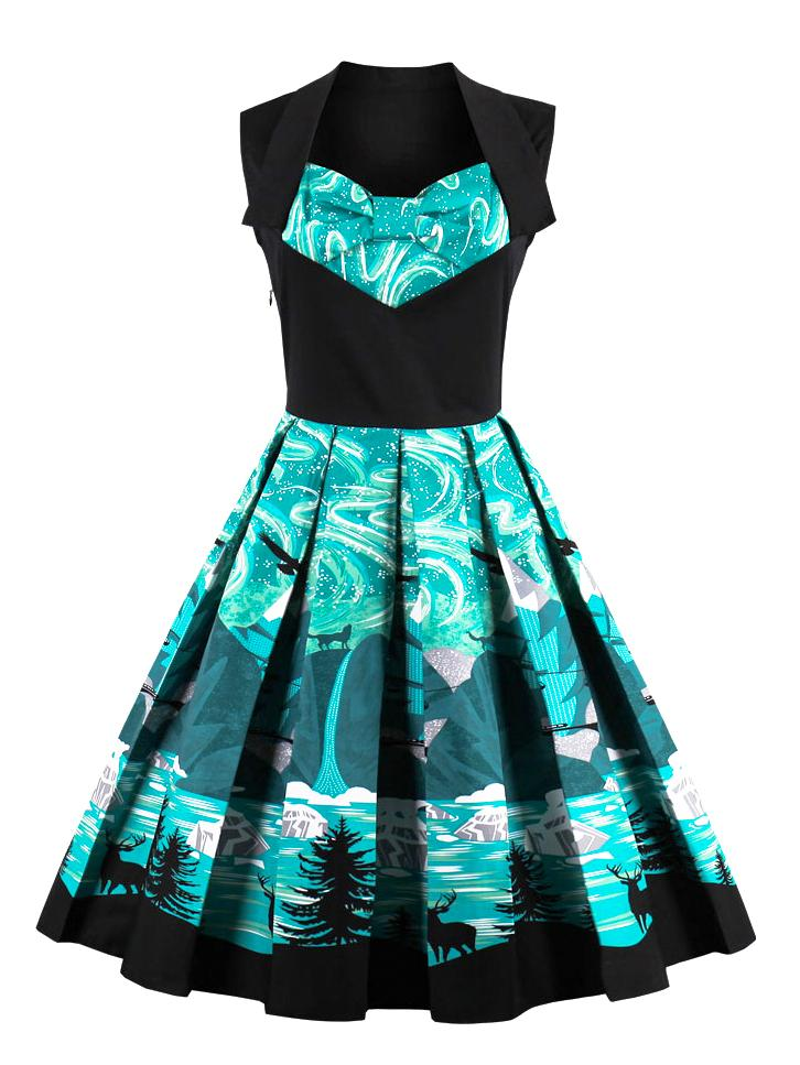 Vintage Fashion Bow-knot Print Dress
