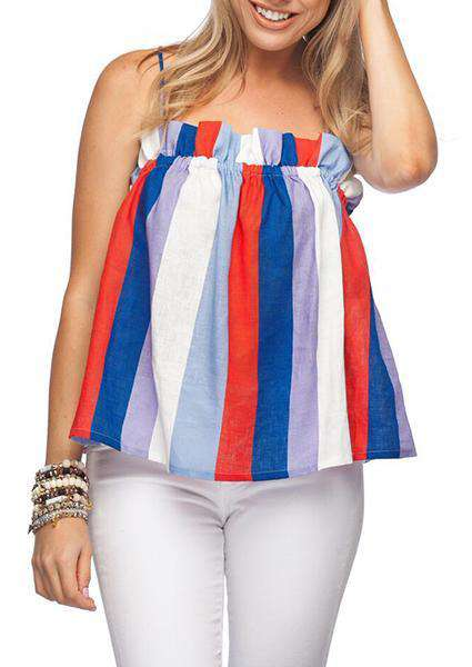 Colorful Off Shoulder Adjustable Straps Tank Tops