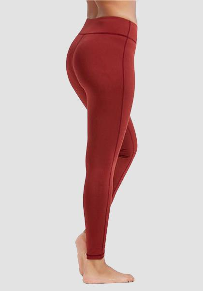 Skinny Fitness Leggings mit Tasche am Bund-Lange Leggings-2UBest.com- Red-XXL-2UBest.com