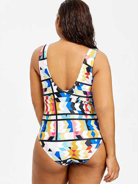 Color Printing Large Size One-piece Swimsuit