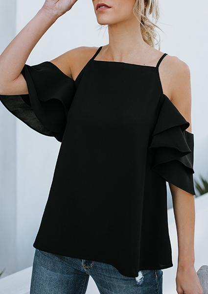 Black Chifton Strap Blouse