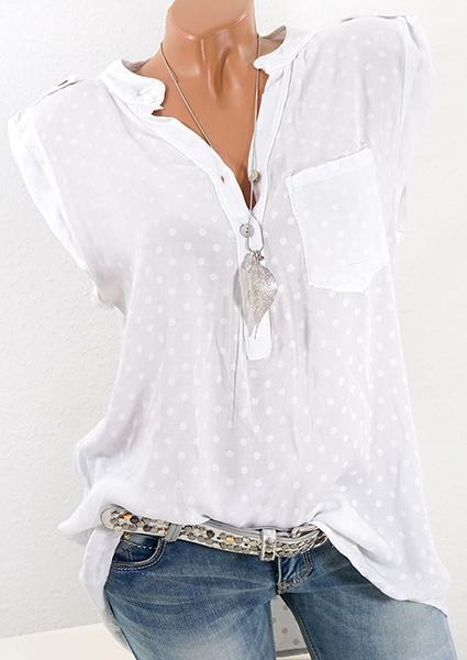 Sleeveless Dot Print Blouse
