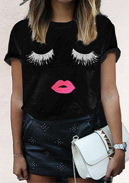 Red Lips Eyelash Printed T-shirt-T-shirts-2ubest.com-Black-S-2UBest.com