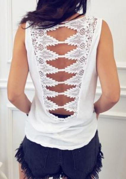 Solid Color Lace Backless Tank