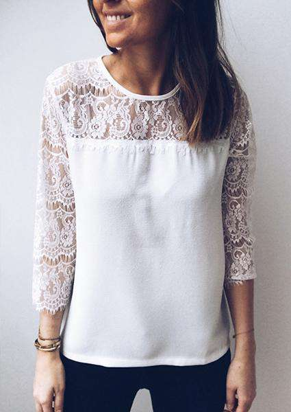 Lace Stitching Hollow Backless Sexy T-shirt