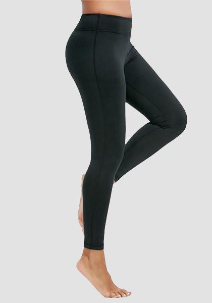 Skinny Fitness Leggings mit Tasche am Bund - lange Leggings-2UBest.com-Black-XXL-2UBest.com
