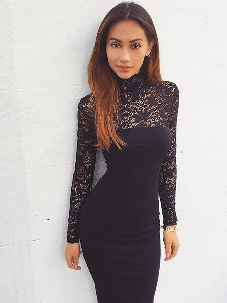 Solid Color Lace Bodycon Dress-Lace Dress-2UBest.com-Black-S-2UBest.com