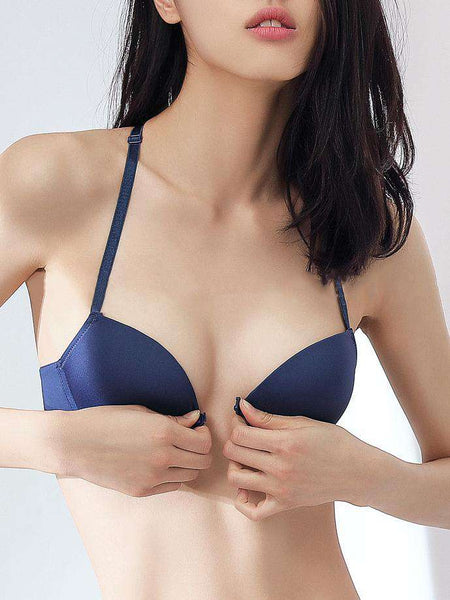 3/4 Cup Front-Close Adjustable Solid Push Up Bra