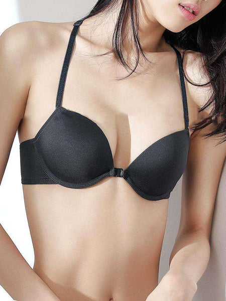 3 / 4 Cup Front-Isara Adjustable Solid Push Up Bra