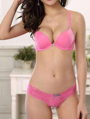 3 / 4 Cup Lace Smooth Front Isara Push Up Adjustable Sexy Bra Set