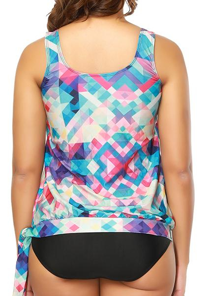 Printed geometric gradient Plus Size swimwear