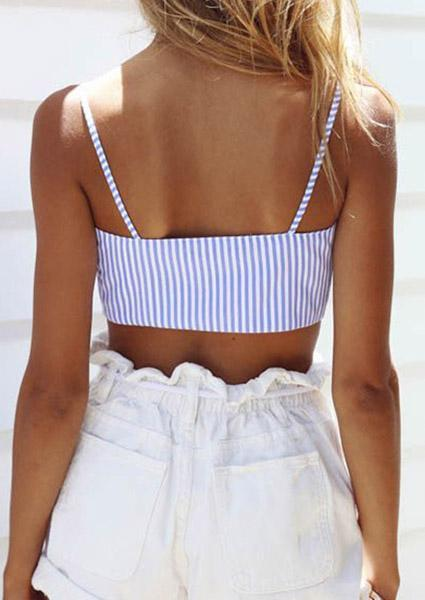 Sexy Striped Lace Crop Tops