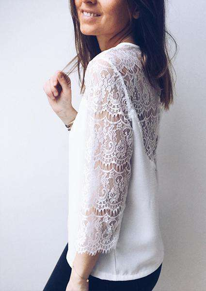 Lace Stitching Hollow Backless Sexy T-shirt-T-shirts-2ubest.com-2UBest.com