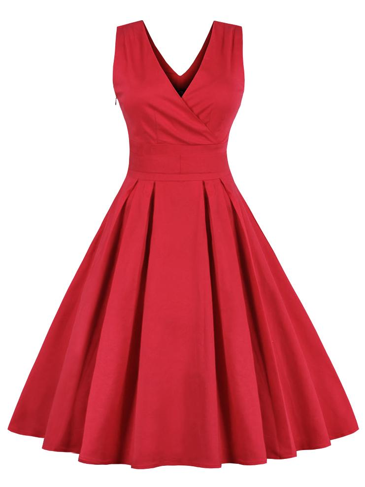 Solid Color V-neck Evening Dress