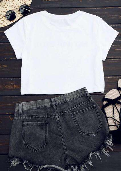 Cotton Letter Printed Short Sexy T-Shirt