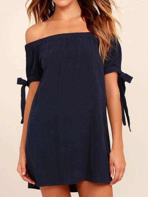 Off Shoulder Tie Mini Dress